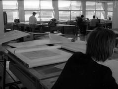 Architecture school design studio-  c1968 B Brown at desk B+W sheet 015 17-1 (Graeme Butler) Tags: school melbourneuniversity history heritage government design culture architecture melbourne victoria australia