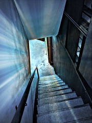 THE LIGHT AT THE END OF THE STAIRS (Visual Images1) Tags: hss slidersunday stairs