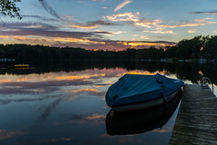 Sunset on the Great Bear Lake (Lena and Igor) Tags: us usa michigan greatbear lake sunset water wet reflection boat scenic landscape dslr nikon d810 sigma 1770 telephoto zoom travel