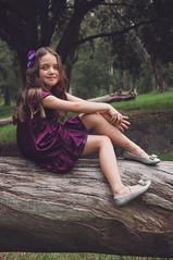Abril the princess (Adalu) Tags: portrait child forest princess purple retrato princesa bosque tree trunk