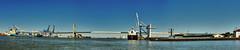 Ports of Philadelphia and Camden (C r u s a d e r) Tags: philadelphiapa camdennj usa newjersey pennsylvania ptgui port shipping delawareriver span containership panorama