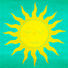 "Sleeping Yellow Sun on a Blue colored ""Paper"" (da's art) Tags: sun digital vectorart drawing ipad sleepingsun sketchclub"