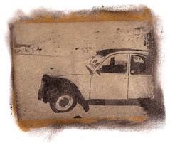 Gumoil (floris dox) Tags: auto old black france art lamp car analog vintage gum print photography la artwork paint ride artistic alt citroen arabic oil frankrijk process floris alternative landes dichromate kalium dox analoog gumprint gumoil kaliumdichromate