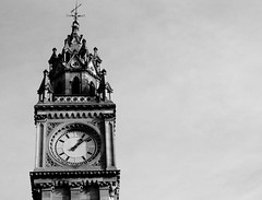 Albert Clock (avalard) Tags: white black architecture landscape evening daylight cityscape belfast customhouse oddmanout eastbelfast albertclocktower