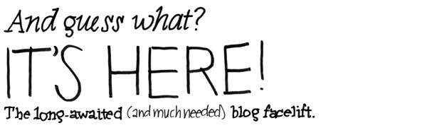 And guess what? It's here! The long-awaited (and much needed) blog facelift.