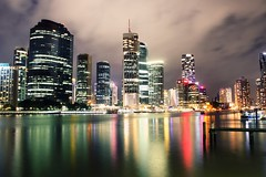 Brisbane (McSnowHammer) Tags: city water skyline night buildings reflections river long exposure brisbane le austrlia
