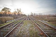 Down the Middle (kr.j) Tags: railroad autumn sunset ontario canon tracks sigma windsor hdr t3i fal sigma1022
