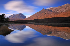 Liathach and Beinn Eighe Reflected. (Gordie Broon.) Tags: longexposure mountains nature water clouds reflections geotagged photography scotland scenery scenic escocia munros annat schottland magia torridon westerross ecosse snowcappedmountains scottishhighlands liathach beinneighe scotspines kinlochewe lochclair canoneos7d bestcapturesaoi gordiebroon scottishwesternhighlands elitegalleryaoi