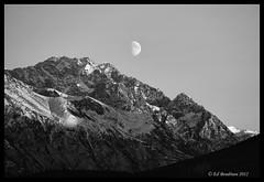 Chugach Moon B&W (Ed Boudreau) Tags: sunset moon chugachmountains alaskamountains mygearandme mygearandmepremium mygearandmebronze mygearandmesilver