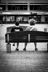 Tuska (Janneaa) Tags: street people blackandwhite bench blackwhite sitting streetphotography tuska