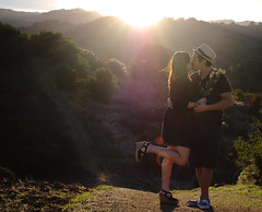 E-session (SarahElizabethYoon) Tags: light sunset sun sunlight mountain love golden engagement woods nikon kiss couple warm soft streak affection lensflare romantic goldenhour selfshot nikond60 esession