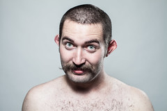 Dave, transformed into... (christait) Tags: portrait hairy haircut canada man calgary dave hair studio beard weird ears humour moustache elf alberta shave curled vulcan folded davidmilan