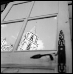 reflection  saint pere, burgundy  2012 (lem's) Tags: door reflection church saint rolleiflex mirror burgundy reflet porte miroir bourgogne pere eglise clocher autaut