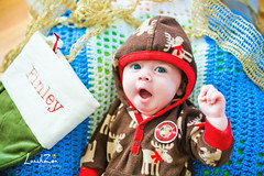 YO!   It's Christmas time...  peace. (Monroe NC Cutie) (lunahzon) Tags: baby reindeer candid lifestyle monroe stocking finn happysmile bigblueeyes bigyawn 2monthold charlottearea lunahzonphotography nontraditionalphotographers cutechristmasoutfit cutechristmaswear