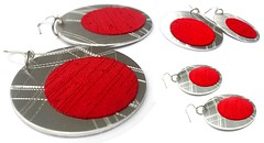 Angeles Flor Eclipse L earrings in red (Ans Designs) Tags: textilejewellery angelesflor aluminiumjewellery ansdesigns