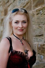 7D0034 Beautiful Blond Haired Lady with red dress - Whitby Goth Weekend 3rd Nov 2012 (gemini2546) Tags: nov goth week 3rd red 2470 sun canon sigma dress hair beautiful 7d lens lady glasses blond whitby 2012 pendent cleavage