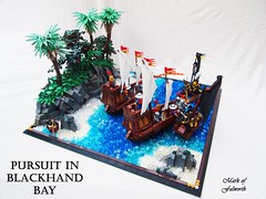 CCCX Pursuit in Blackhand Bay (Mark of Falworth) Tags: ocean trees tree castle water landscape island war ship lego pirates battle medieval tropical ccc outlaws warship outlaw lcc