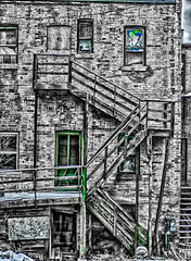 201206048 (garydrakephotos) Tags: windows blackandwhite color detail brick stairs alberta oldbuilding lethbridge greendoor southernalberta
