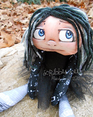 Lyric (Scribble Dolls) Tags: musician music black art grey stuffed doll paint acrylic handmade ooak gray emo goth plush yarn fabric plushie cloth rag