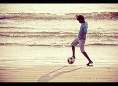 [271/366] Beach soccer (puzzlescript) Tags: sunset playing game beach sport football kid waves soccer vizag kesari ravigopal
