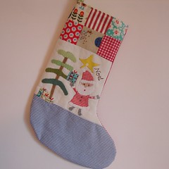 Chtistmas stocking santa blue check (Roxy Creations) Tags: santa christmas reindeer snowman handmade embroidery sewing decoration gingerbread christmastree holly elf ornament gift owl christmasstocking handembroidered santasack