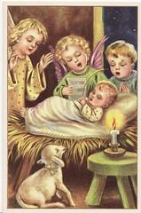 Angels at the Manger (Calsidyrose) Tags: christmas winter baby cold illustration vintage dark religious hope design infant advent catholic graphic birth style christian ephemera holy angels german nativity jesuschrist saviour christchild tradtitional