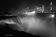 b/w falls (explored) (Rex Montalban Photography) Tags: longexposure bw mist newyork night niagarafalls waterfall americanfalls hss rexmontalbanphotography sliderssunday