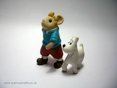 Tintin Mouse and Snowy the Dog (Quernus Crafts) Tags: cute snowy polymerclay tintin herge tintinandsnowy quernuscrafts