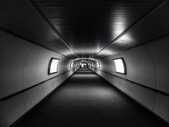 Light at the end (The Eclectic Mix) Tags: light shadow blackandwhite bw white black monochrome airport noiretblanc tunnel sofitel gatwick schwarzundweiss