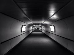 Light at the end (The Eclectic Mix) Tags: light shadow blackandwhite bw white black monochrome airport noiretblanc tunnel sofitel gatwick schwarzundweiss