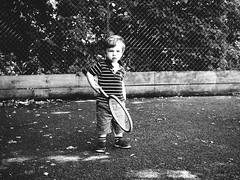 First Tennis lesson (EEtchart) Tags: tennis lesson son blackandwhite blackwhite olympus em1 omd streetphotgraphy sunday essex chelmsford