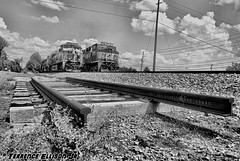 """Old Rails, New Groove"" NS 173 & 153 8/28/16 (tjtrainz) Tags: ns norfolk southern 173 153 manifest trains side by doraville ga georgia piedmont division greenville district interstate es44ac 8105 heritage ge general electric bw black white"