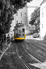 Carreira 28E dos Elctricos de Lisboa 2 (REAL PLUS) Tags: lissabon portugal stadt stadterkundung city colorkey travel tradition strase strasenbahn gelb transport bahn tram