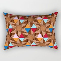 modern-marquetry-rectangular-pillow_society6 (vannina_sf) Tags: pillow cushion rectangular marquetry wood wooden pattern design geometric texture society6 graphic home interior deco triangles mosaic stars orange red blue pink