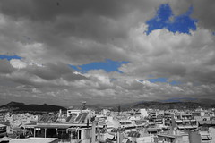 Blue (andreas11289) Tags: sky blue coloursplash greece athens clouds