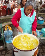 Pozole is served in the square in Tepoztlan, Mexico (Happy Sleepy) Tags: square squareformat uploaded:by=instagram pozole cookingoutdoors caultdron tepoztlan mexico soup yellow grannie delicious happysleepy magdawojtyra happysleepycom artistlife 2016