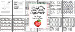 2nd Grade - Monthly Learning Pack - September (CHSH - Christian Home School Hub) Tags: skills worksheets 2ndgrade chsh christianhomeschoolhub chshteach math grammar syllables sightwords