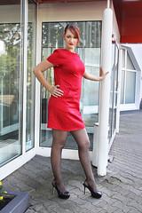 Lara 03 (The Booted Cat) Tags: sexy cute girl model red hair dress minidress nylon pantyhose heels highheels legs
