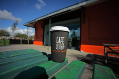 Coffee time (Barry Miller _ Bazz) Tags: wideangle canon5dmark2 sigma1530 coffee latte bench victoriaparkwidnescheshire caramel relaxing timeout seat sitting outdoor