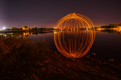 Light Orb At The Lake (Robin-Wilson) Tags: lightpainting orb lake reflection night selfie longexposure lasborday prospectlake coloradosprings colorado memorialpark shoreline firsttry nikond800 nikon1424mm
