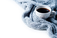 Cup of coffee and knitted sweater on the white table (lyule4ik) Tags: cold warm woolen view coffee breakfast top cozy winter home vintage background indoors scarf white wool cup woven fall closeup photo cafe table autumn sweater negative cashmere design woman image hot soft drink mug knit lifestyle retro mood wooden space rustic beautiful beauty bedroom christmas comfort cute european female frame