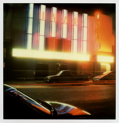 Ivar Theatre 1 (tobysx70) Tags: california ca blue light red toby color reflection sign night project polaroid sx70 la los neon nocturnal theatre angeles trails illuminated tip hollywood ivar lit sonar hancock avenue protection impossible the px70 theimpossibleproject tobyhancock impossaroid colorprotection