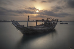 Morning bliss (heshaaam) Tags: longexposure light bw sun clouds bahrain long exposure ship hdr dhow nd110