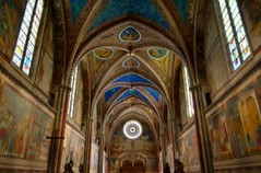St. Francis of Assisi Basilica interior - Colorful frescoes by Giotto (a UNESCO Heritage site) (Sir Francis Canker Photography ©) Tags: sanfrancisco italien blue light italy tower art heritage tourism luz church colors rose architecture bells painting wonder arquitectura perfect europe long italia european order arte cross symbol basilica religion gothic culture iglesia nopeople landmark icon tourist medieval belltower unesco chiesa campanile vault bluehour catholicism romanesque stfrancis medievale fresco architettura assisi italie gem perfection umbria parvis touristic romanico franciscan giotto saintfrancis gotico asis frescoes sanfrancesco rosewindow christianism roseton cimabue nikon5100 pacocabezalopez sirfranciscanker françoisd'assise