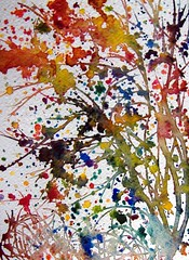 the turn of autumn (Annette Henbery) Tags: autumn trees mountain colour tree leaves painting rainbow flora paint branch berries branches ivy spray foliage trunk watercolour ash helix drips colourful splash rowan hedera splatter dripping spatter spattering splashes sorbus