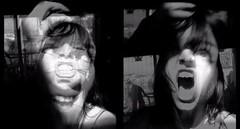 autoportrait 2010 (Madame B (Sophie)) Tags: b madame woman white black paris art texture home girl strange dark painting polaroid weird diy photo eyes experimental acrylic noir autoportrait femme sophie crosses moderne peinture yeux made homemade indie londres maison blanc bizarre fait croix nowave abstrait contemporain toiles madameb nadaud autodidacte