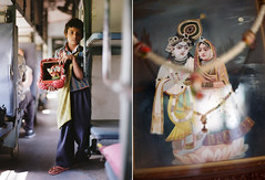 A parents love (A Jacona) Tags: boy india film kids painting diptych spirituality hinduism iso320 trainride mandawa contax645 c41 noritsu kodakportra400 80mmf2 richardphotolab