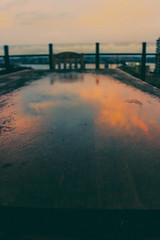 (veneer bruite) Tags: sunset reflection water table chair sydney