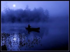 Once in a blue moon journey (edenseekr) Tags: blue moon lake canoe midnight moonlight paddling adirondack