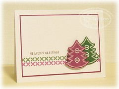 TSG183 - Stitched Trees (Torico27) Tags: christmas pink winter white holiday tree green holidays crossstitch stitch handmade card button raspberry greeting cas